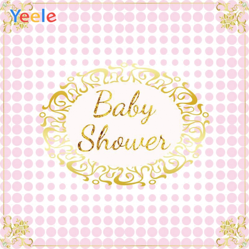 Yeele Baby Shower Gold Words Lace Pink Dot Beauty Photography Backdrops Personalized Photographic Backgrounds For Photo Studio in Background from Consumer Electronics