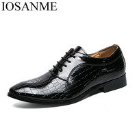 Men Shoes Patent Leather Formal Dress Fashion Snake Skin Desinger Italian Glossy Male Pointed Toe Brogue