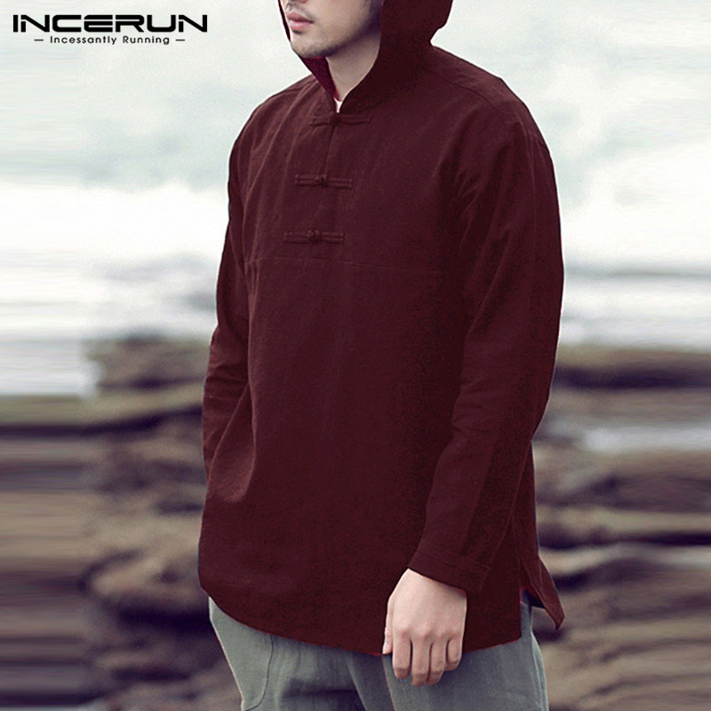INCERUN Men's Hoodies Tshirts Autumn Long Sleeve Hiphop Joggers Cotton Pullover Loose Hombre Male Clothes Masculino Streetwear