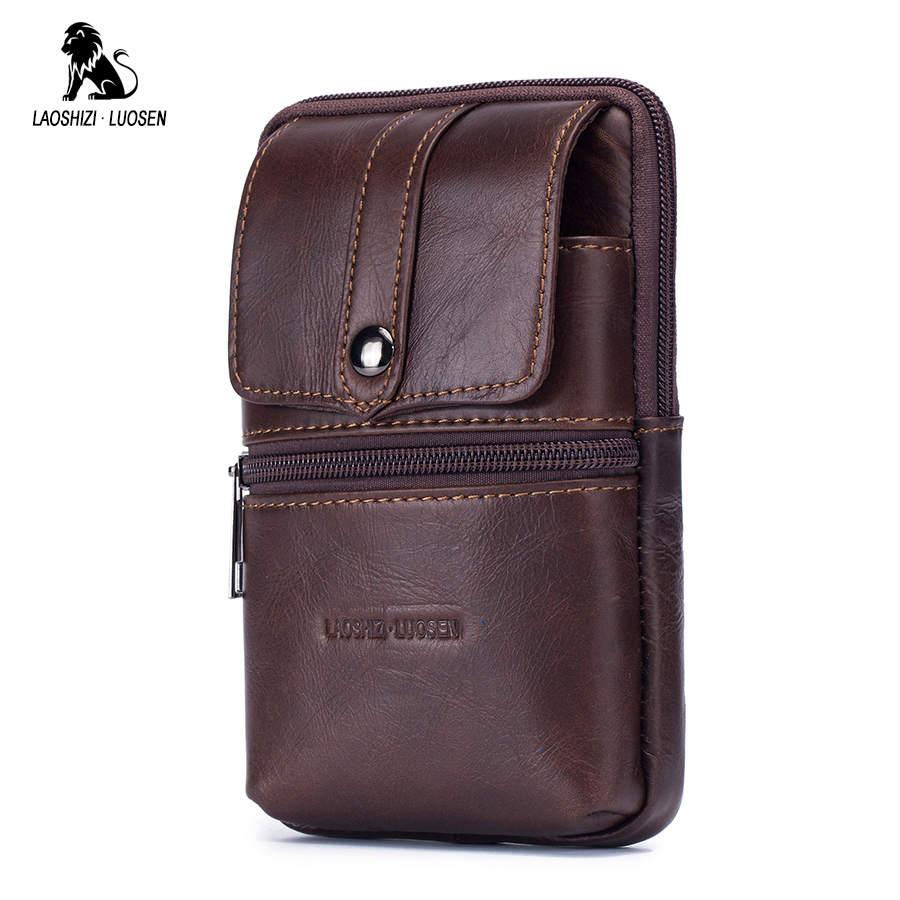 Véritable cuir hommes taille sac Fanny téléphone Portable porte-monnaie mâle peau de vache poche ceinture Bum poche militaire Pack Portable sac