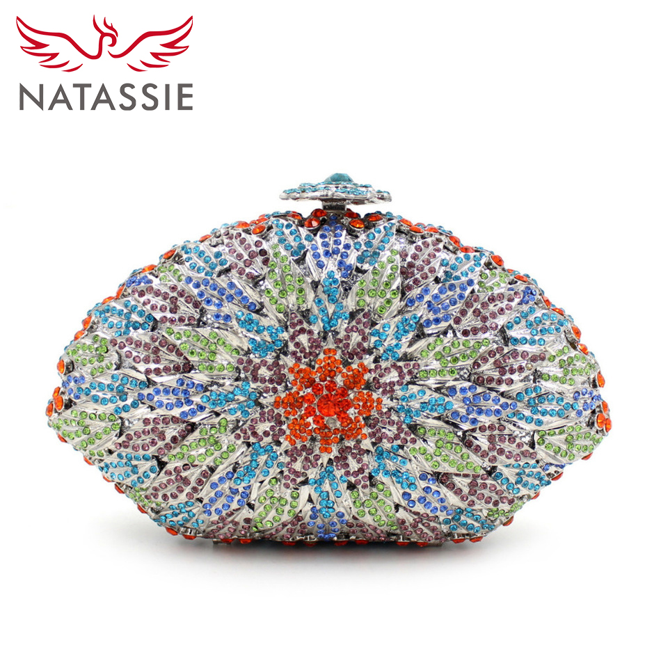Natassie hermoso cristal rhinestone tarde bolsa de embrague bolso de lujo de las