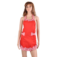 Cute Princess Style Grid Pattern Kitchen Cooking Baking Apron Women Ladies Apron With 2 Bowknot Pockets