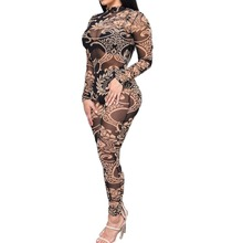 1X Sexy Club Perspective Jumpsuits Sleeve Women's Fashion Print Jumpsuits Bodysuit Bodycon Playsuits Bodysuits Clothing Clothes