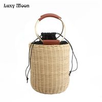 Luxy Moon Evening Clutch Bags New Arrival Woven Bucket Bag Drawstring Portable Metal Round Handle Small