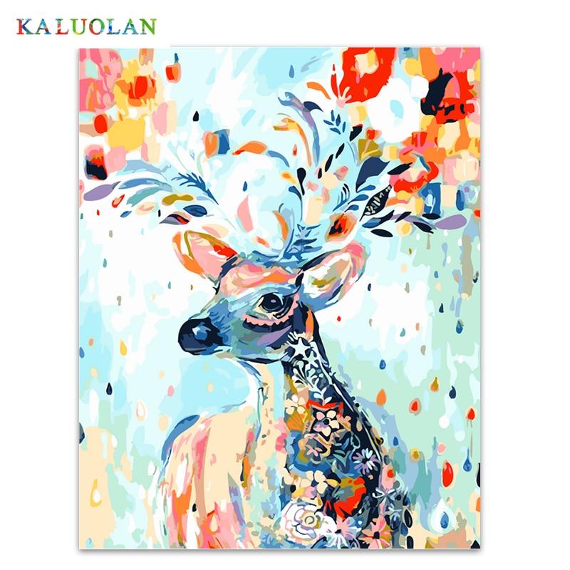Frameless foto painting by numbers dipinto a mano su tela di disegno del fumetto pittura a olio di diy dai numeri 40*50 cm Colorato cervo
