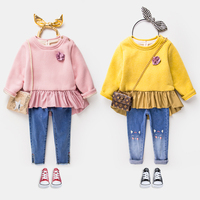 Maggie's Walker Girls floral soft cotton hoodies girl winter thickened cashmere fashion cloth girl Shoulder strap buckle hoodies