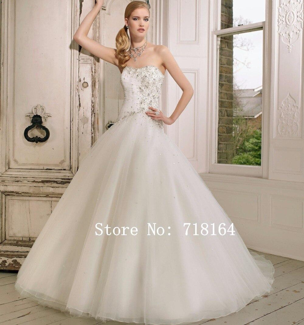 Luxury Handmade Beadings Ball Gown Wedding Dresses Country