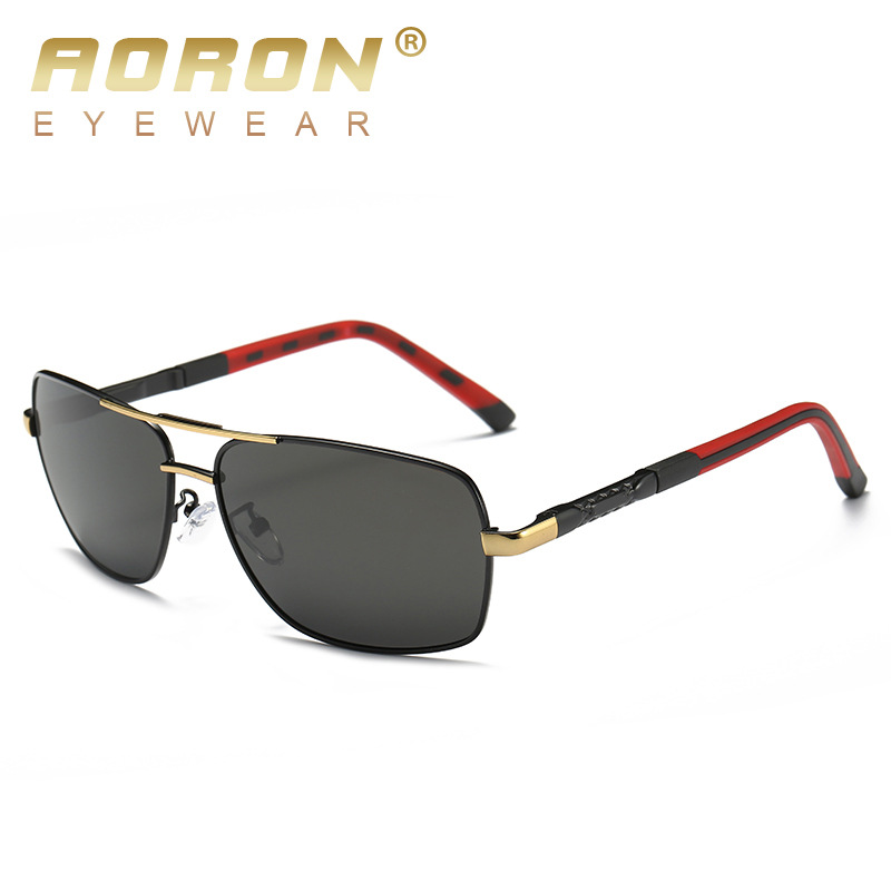 AORON Men Polarized Sunglasses Men Brand Original Design Metal Frame Rectangle Lens UV400 Glasses Eyewear