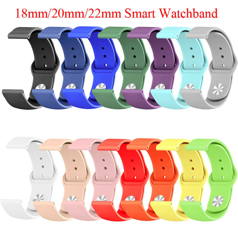 18 Mm 20 Mm 22 Mm Silikon Band untuk Huawei/Withings/Samsung Galaxy/GEAR S3/Amazfit bip Smart Watch Pengganti Tali Gelang
