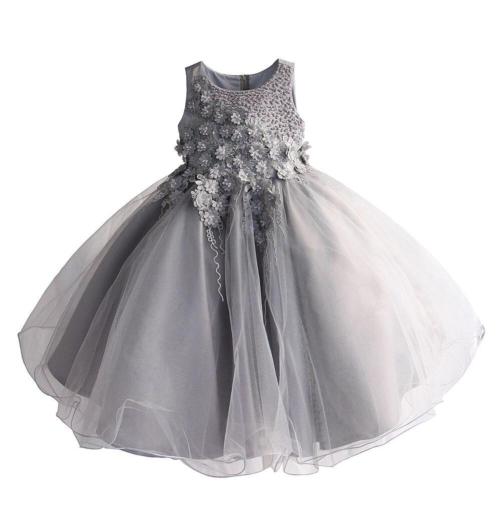 Robe de fleur de mariage de filles pour la robe de dentelle de fête d'anniversaire de princesse robe d'été de Costume de boutique d'enfants [Yelaumoky]