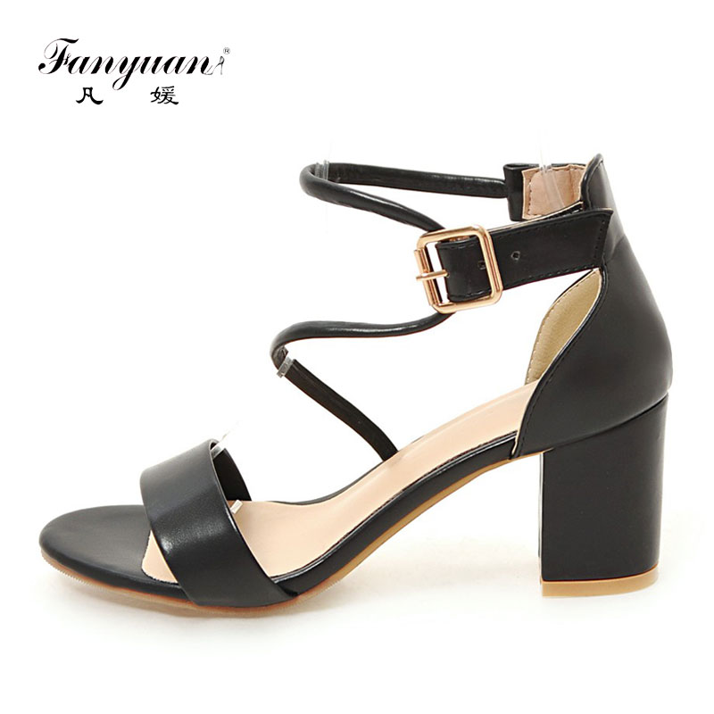 Fanyuan women Summer Sandals sexy Thick high Heels ladies fashion Office Formal shoes Big size concise Buckle Open toe Sandals 2017 summer new sandals exposed toe high heels female sexy thick with buckle shoes wholesale