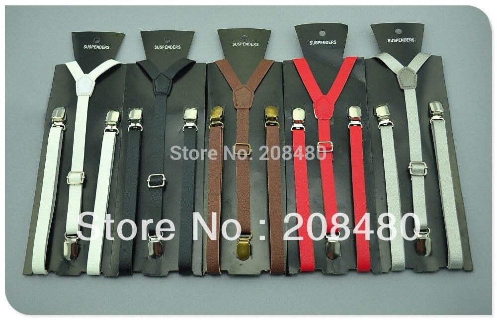 Free shipping Solid PU leather Suspenders Women`s Mens Unisex Clip-on Elastic Braces Slim Suspender 1.5x125cm Wholesale&Retail