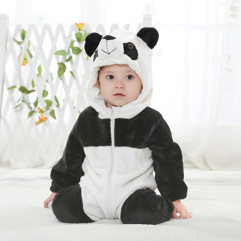 Fleece Baby Animal Romper White Black Jumpsuit Bear Baby Romper Pattern  For 4-18 Months Toddler Clothes KJ-15008 autumn baby clothes flannel baby boys clothes newborn fleece animal girls jumpsuit hooded toddler cute bear romper baby costumes