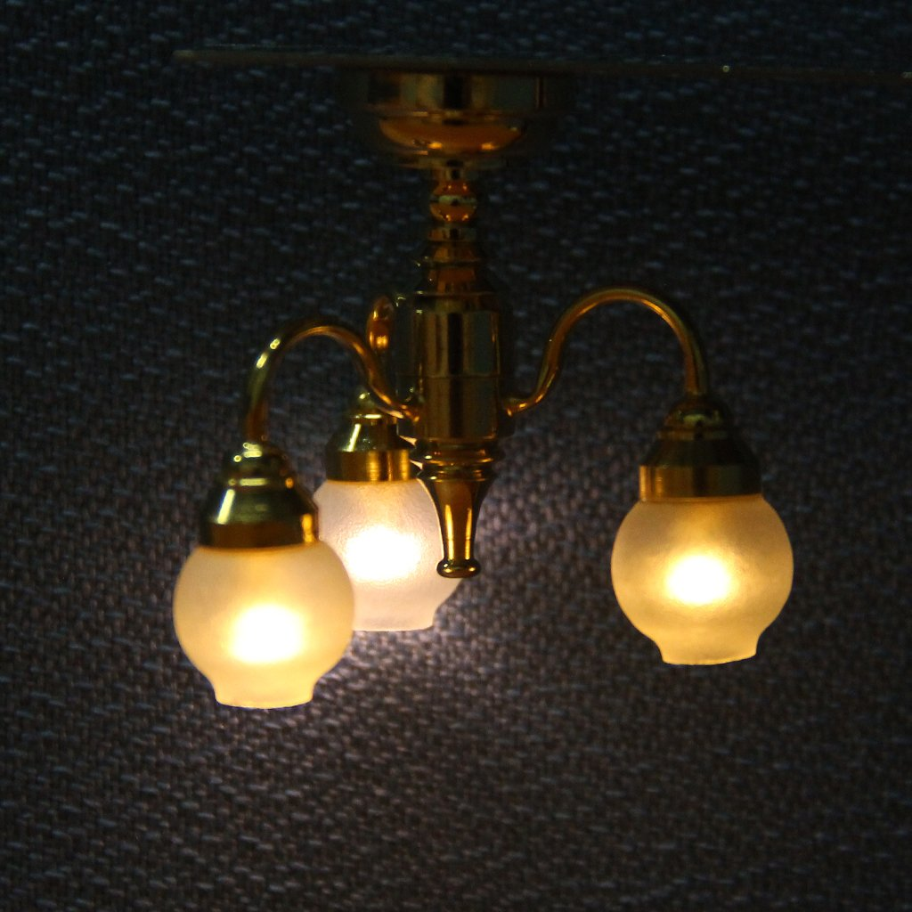 1:12 Dollhouse Brass Chandelier 3 Arm Lamp LED Ceiling Lamp Glass Shade Dollhouse Accessories Miniature LED Light
