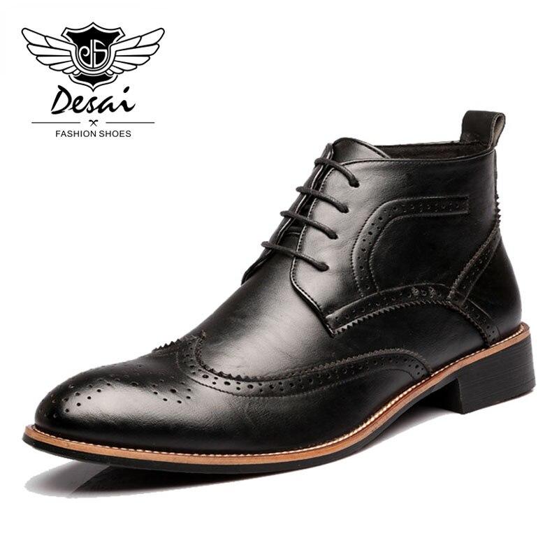 DESAI/новая обувь, мужские ботинки с резным узором, модные ботинки martin в Корейском стиле с острым носком, Мужские ботинки в британском стиле на ...