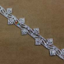 1 yard Bling Rhinestone Cup Chain Silver DIY Browbands Bride wedding gown  dresses decoration Crystal Costume Applique Trims -in Rhinestones from Home  ... e97e036732de