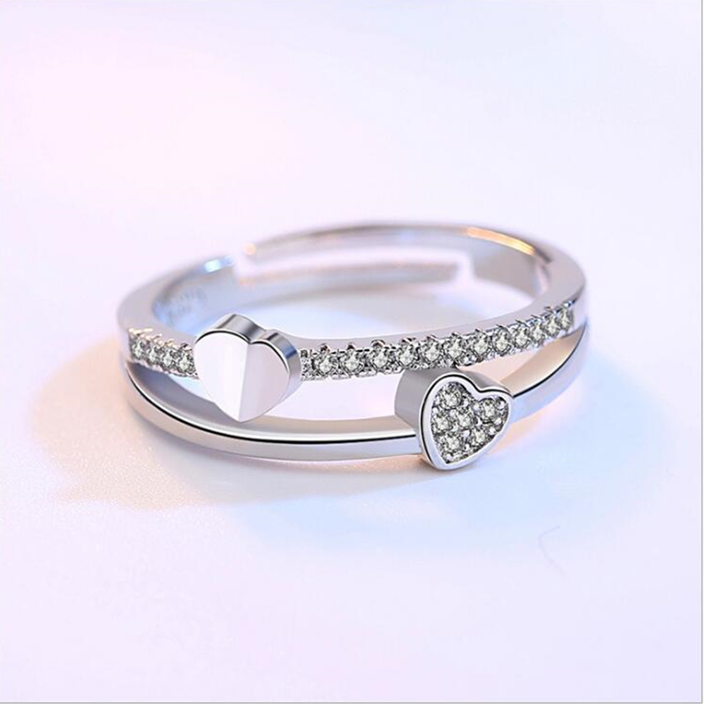 NEHZY 925 sterling silver New Woman Cubic zirconia silver ring opening the adjustable ring asymmetrical heart-shaped jewelry