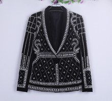 High quality luxury embroidered pearls jackets Fashion women slim fit short coat S219