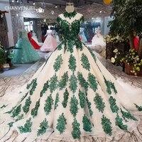 LS11215 цвета шампанского вечерние платья с зелеными аппликациями, с высоким вырезом, с рукавами крылышками, вечернее платье, длинное бальное п