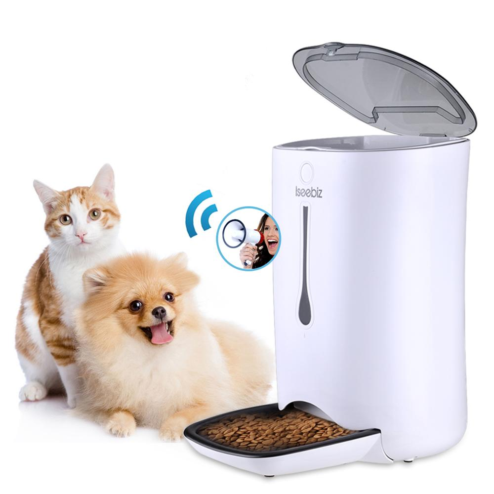 Iseebiz 7L Automatic Cat Dog Feeder Pet Food Dispenser with Voice Reminder and Programmable Timer LCD