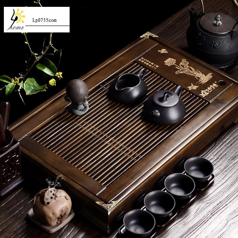 Free Shipping Chinese Kung Fu Bamboo Wood Gongfu Tea Tray Set Clay small clear Lotus tea