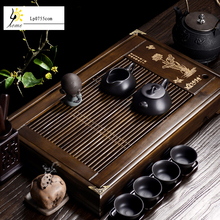 Kostenloser Versand Chinesischen Kung-fu-tee-set Bambus Holz Gongfu Tee-tablett Set Ton kleine klar Lotus tee-tray Große Tee tabelle High qualität