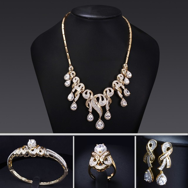 2015 Bridal Luxury Wedding Jewelries Set Necklace Bangle