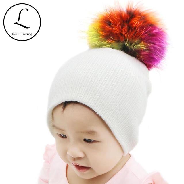 0780d31f5dd GZHILOVINGL Baby Hat Kids Newborn Knitted Cap Crochet Solid Children  Beanies Boys Girls Fur Pom Pom