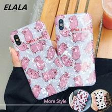 ELALA Glossy Marble Case For iphone 7 Funny Cute Piggy Glitter Conch Silicone Cover iPhone 6S 8 Plus X XR XS Max