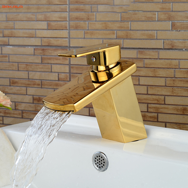 BAKALA High Quality All Brass Golden Taps Deck Mounted Basin ...