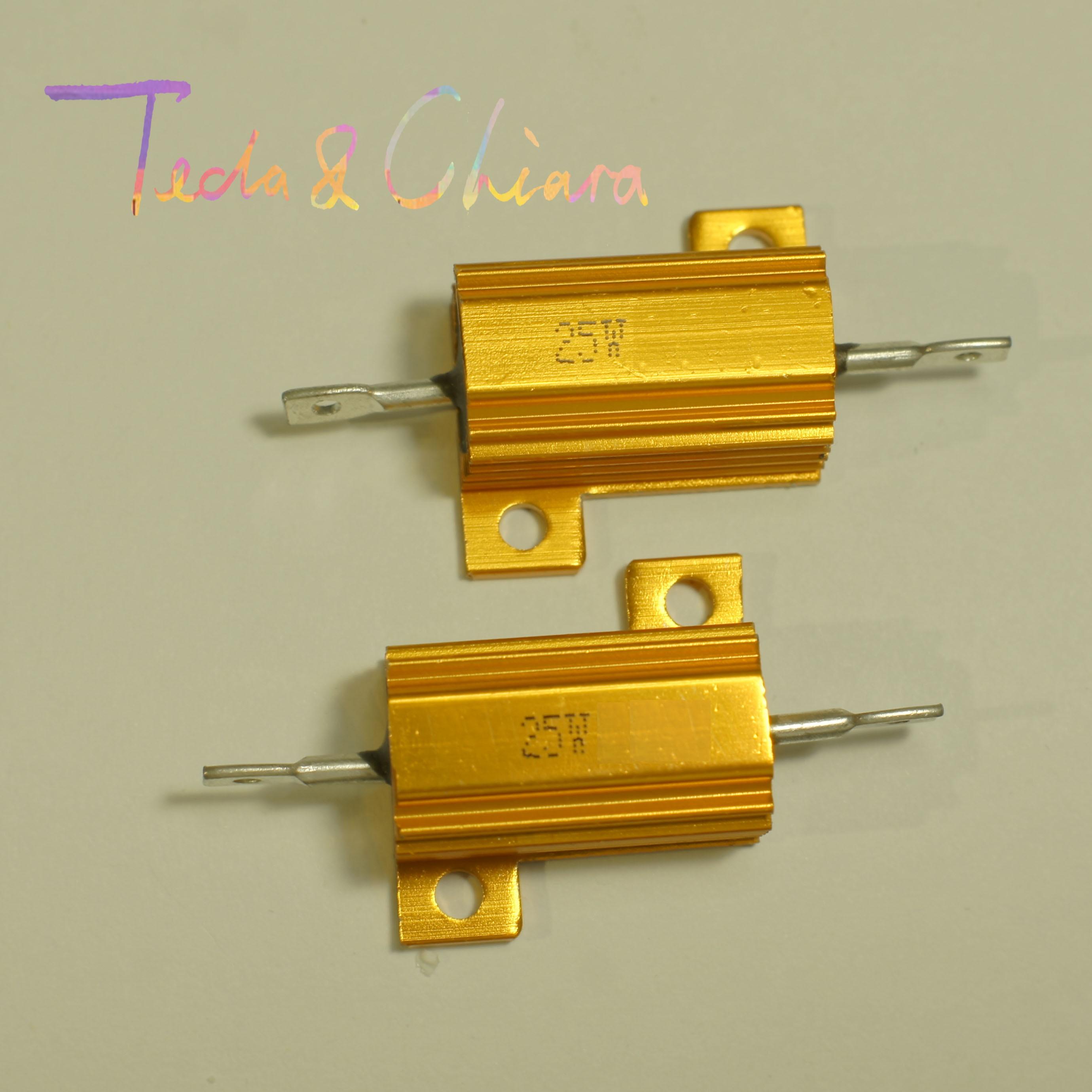 2Pcs 15R 15ohm 15 16R 16ohm 16 R Ohm 25W Watt Wirewound Aluminum Power Metal Shell Case Resistance Resistor RX24