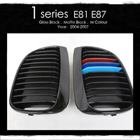 For BMW E81 Grilles E87 Grill 1 Series Grill 120i 125i 128i 130i 135i ABS Gloss M Color Front Kidney Grille Decoration 2004 2009