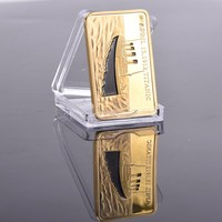 1 OZ Square 999 fine Gold Plated Collectible Commemorative Coin Modern Decoration Titanic Gold Bullion Bar, DHL free shipping