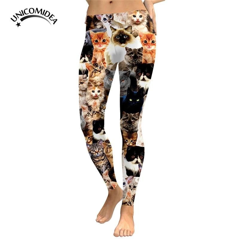Cute Cat 3d Leggings Womens All Kinds Of Cats Leggings Digital Print Pants Trousers Stretch Pants Sporting Workout Sportswear