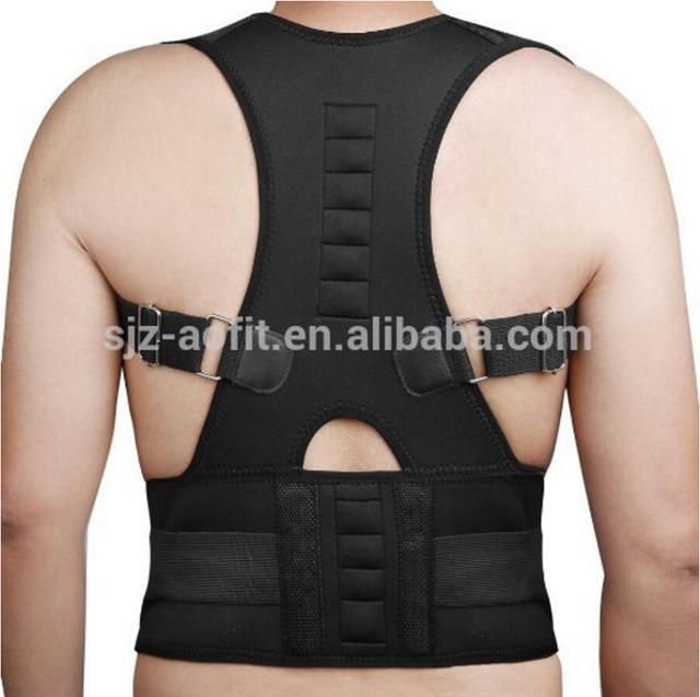 Apoyo para la espalda Cinturón Brace Ajustable Magnética Corrector de Postura AFT-B002 Corsé Ortopédico Chaleco Negro Blanco