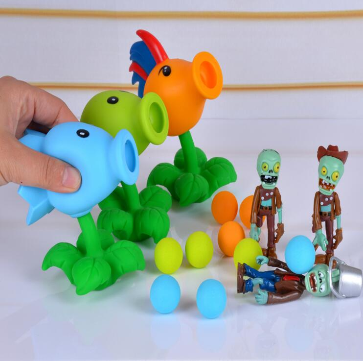 2018 PVZ Plants vs Zombies Peashooter PVC Action Figure Model Toy High Quality Brinquedos Gifts Toys For Children new arrival 30cm plants vs zombies pvz 2 chicken wrangler zombie plush toys soft stuffed toys doll for kids children xmas gift