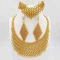 2016Hot sale dubai gold plat High quality  Fashion jewelry big set  Africa wedding women jewelry set earring