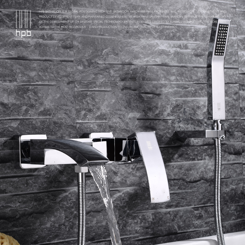 Wall Mounted Bathroom Faucet Bath Tub Mixer Tap With Hand Shower Waterfall Shower Faucet hot and cold waterfall brass torneira