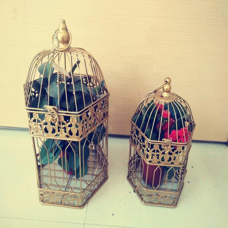 Hexagone mode mariage Cage à oiseaux fer décoration de la maison Cage à oiseaux personnalisé décoratif Cage couleur or