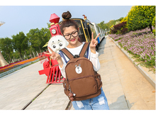 Japanese Cute Bear Bags Women Cartoon Canvas Backpacks For Teenage Girls Large Capacity Travel Bag Pack Lady Coffee Backpack