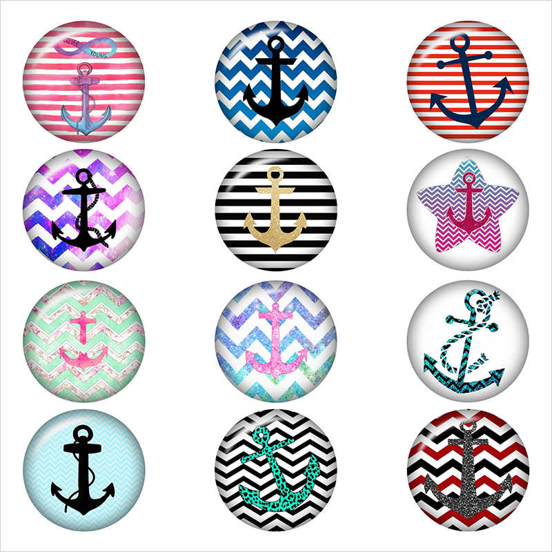Rudder NAVY LOVE Round photo glass cabochon demo flat back Making findings 12mm/18mm/20mm/25mm DA3045