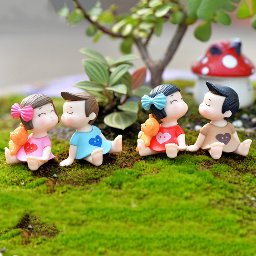 4pcs/Set Sweety Lovers Couple Figurines Miniatures Fairy Garden Gnome Moss  Terrariums Resin Crafts Home Decoration 8 Style In Figurines U0026 Miniatures  From ...