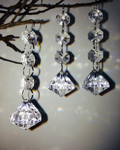 12pcs Clear Acrylic Crystal Beads Diamond Shape Garland Chandelier Hanging Wedding Party Decor 14mm