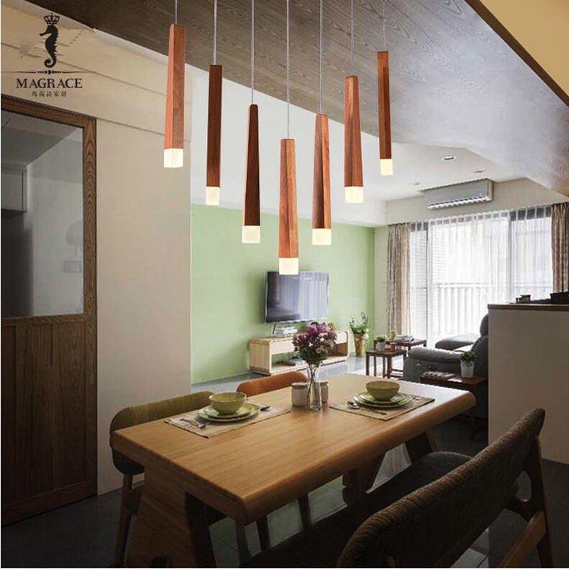 Nordic Wood Pendant Lights For Home Lighting Modern Hanging Lamp  Wooden Lampshade LED Droplight Bedroom Kitchen Light Fixture nordic wood pendant lights for home lighting modern hanging lamp wooden lampshade led droplight bedroom kitchen light fixture