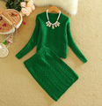 2 Piece Set Women Spring Autumn Fashion Long Sleeve Knitted Crop Top and Midi Pencil Skirt Bodysuit ensemble jupe et haut 1197