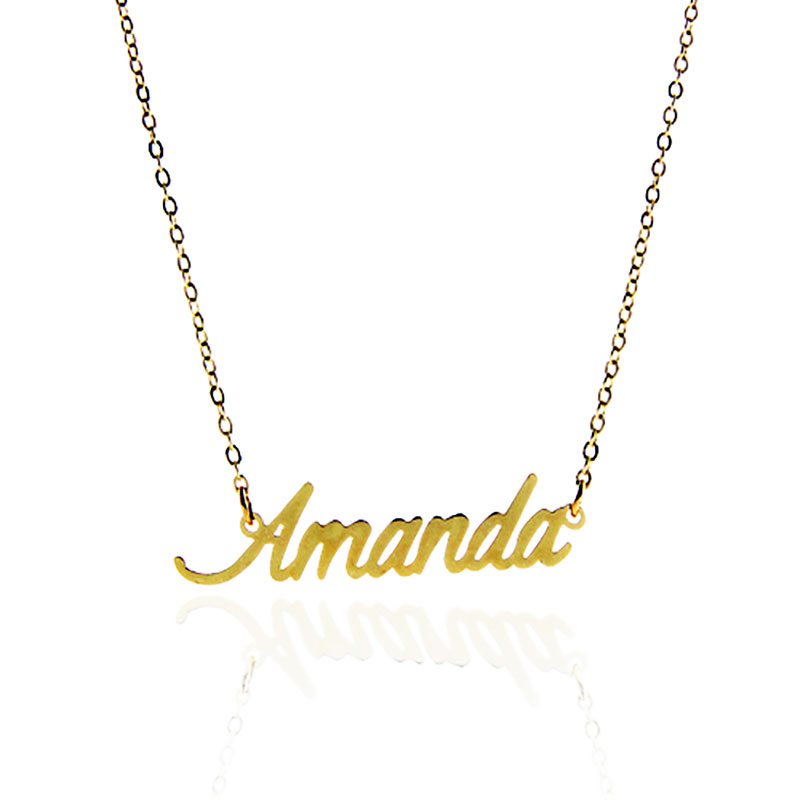Customized Name Necklace Women Gold Color Nameplate Necklace  Amanda  Stainless Steel Personal Name Statement Necklace NL2395