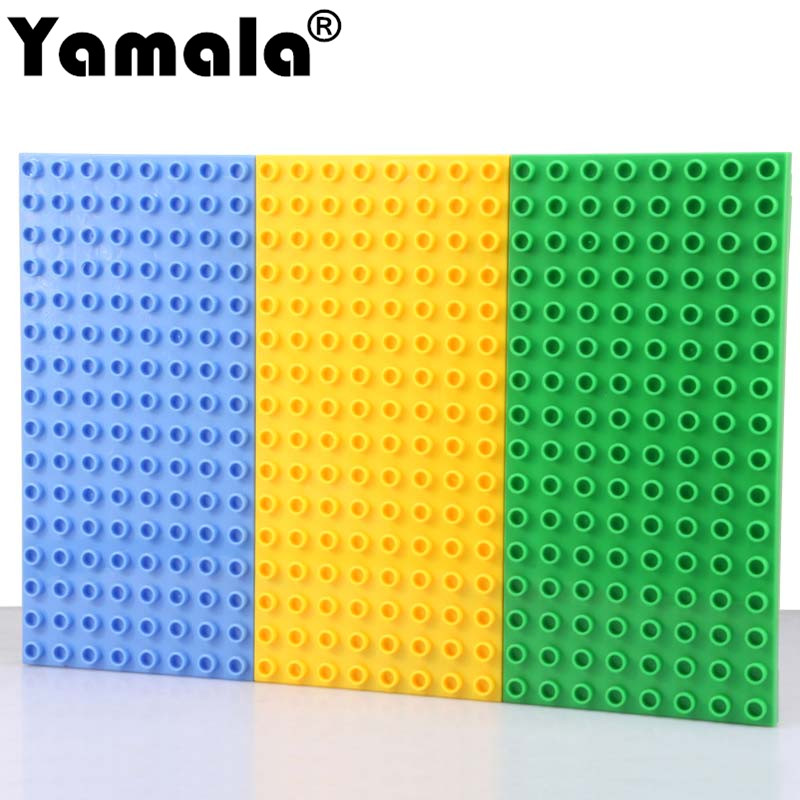 [Yamala]Big Bricks Baseplate 25.5*12.5cm 16*8 Dots Base Plate Compatible  With Legoingly Duplo Big Bricks Kids Educational