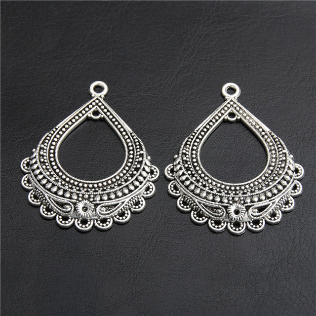 8pcs  Silver Color Drop Shape Chandelier Connector Charm Pendant For Earrings DIY Accessory Jewelry Making A2818