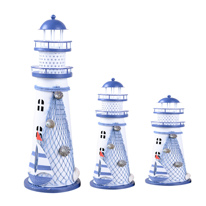 Desk Decor Lighthouse Figurines Metal Craft Light House Beacon Home Decoration Maritime Navigation Night Light House