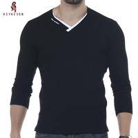 HEYKESON Male 2017 Brand New Long Sleeve Solid T Shirt V Neck Collar Slim Men T